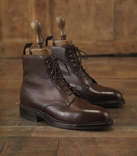 Purdey Brown Men's Grain Leather Boot With Dainite Sole