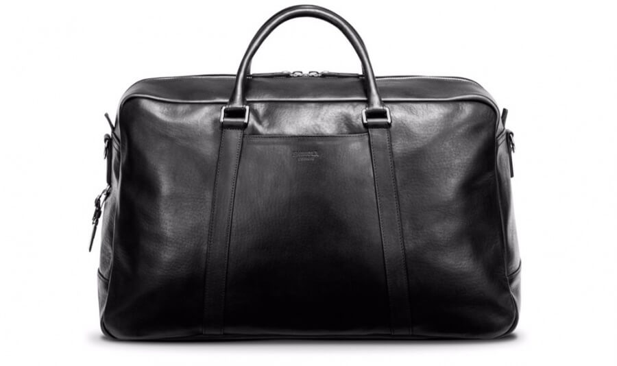 Shinola Signature Duffle Weekender Bag Holdall Carryall Leather Black Ashley Weston