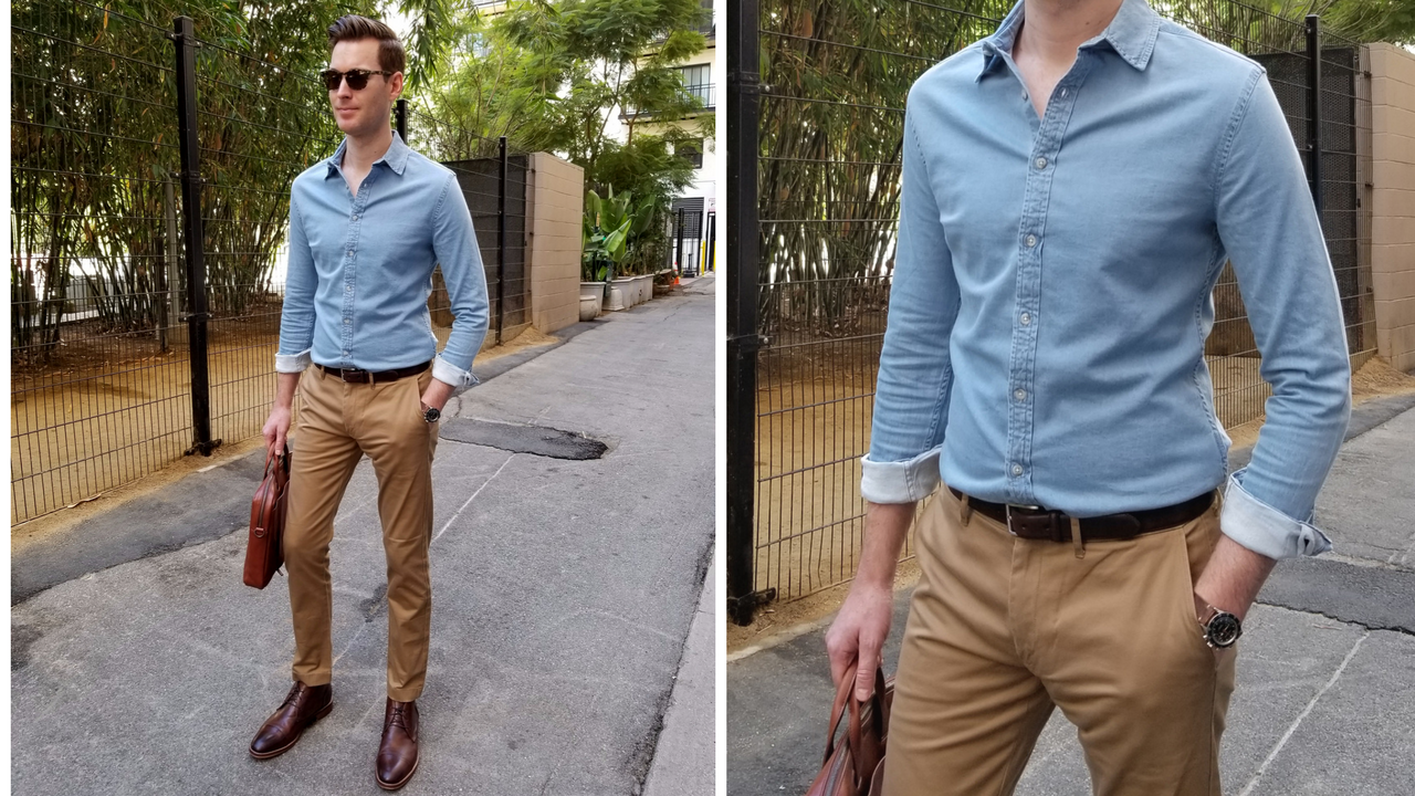 0660a38d052 My final pick for the season is a chambray shirt. It looks great on its own  or layered underneath a cardigan or jacket. I recommend wearing yours with  ...