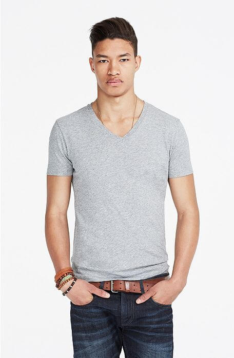 Armani Exchange Grey Pima V-Neck Tee