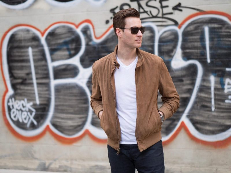 Suede Bomber Jacket Ashley Weston